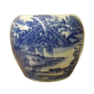 Chinese Blue White Scenery Porcelain Pot Vase