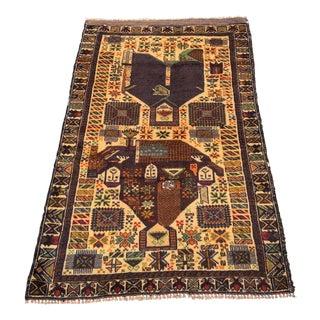 "Vintage Persian Baluchi Area Rug - 2'10""x4'5"""