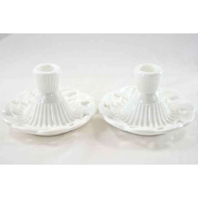 Image of 1950s Fostoria Milk Glass Candleholders - a Pair