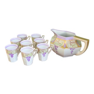Wine Luncheon Service - French Limoges Pitcher & Mugs - Set of 9