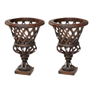 Large Walnut Wooden Urns - A Pair