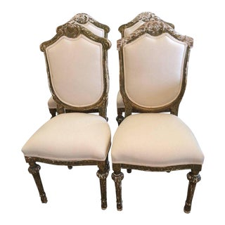 French Louis XVI Side Dining Chairs - Set of 4