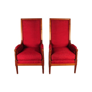 High-Back Modern Red Chairs - A Pair
