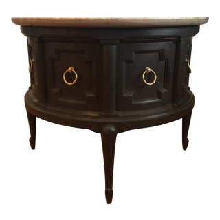 Round Stone Top End Table With Storage