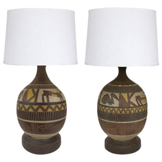 Mid-Century Incised Animal Earthenware Lamps - a Pair