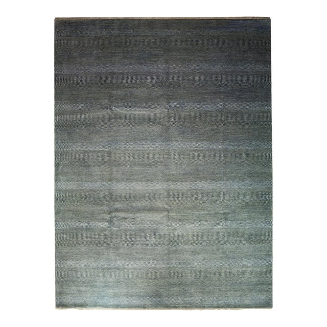 "Tonal Striped Hand Knotted Area Rug - 9'1"" X 12'3"" - Image 1 of 4"