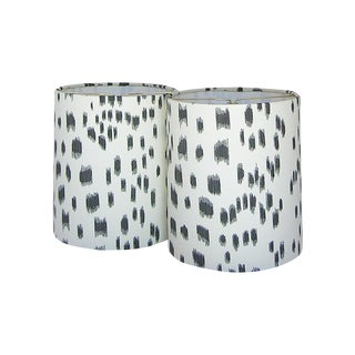 Brunschwig & Fils Les Touches Black Animal Print Drum Chandelier or Sconce Shades - Six Shades