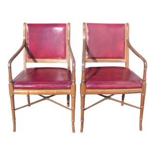 Pair of Cabot Wrenn Luxury Burgundy Leather Library Arm Chairs