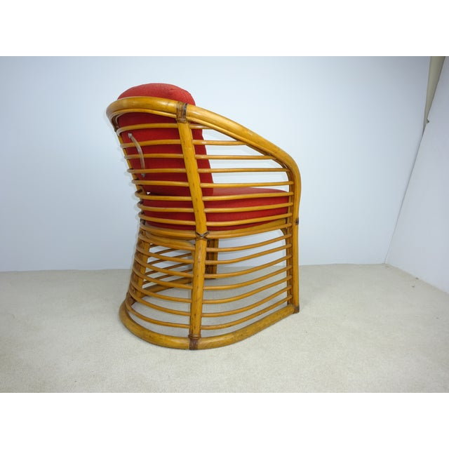 Mid-Century Deco Stylized Rattan Arm Chair - Image 5 of 10