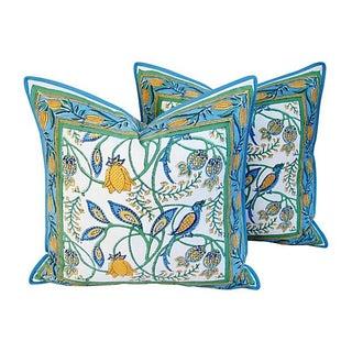 Hand-Blocked Floral Bird Printed Pillows - A Pair
