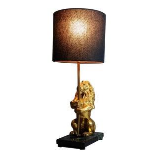 Regal Brass Lion Lamp