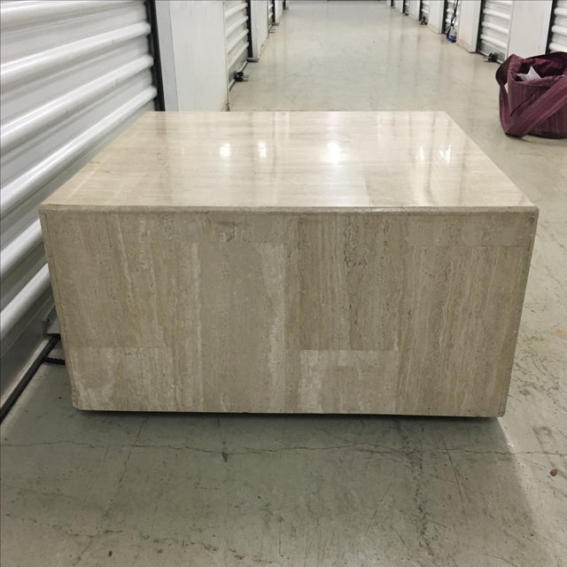 Rolling Travertine Cube Side Table - Image 4 of 8