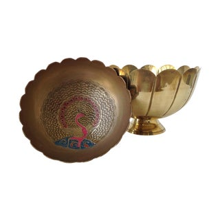 Brass Lotus & Enamel Moorish-Style Bowls - Pair