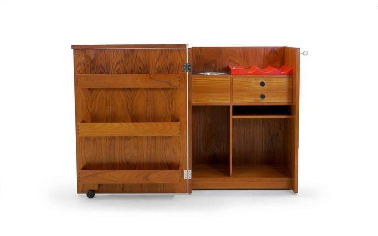 Erik Buch Portable Bar Cabinet Or Bar Cart On Casters Teak, All Original    Image
