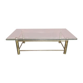 Vintage Brass & Glass Faux Bamboo Cocktail Table