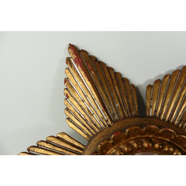 Sunburst Star Gilded & Silver Wood Mirror - Image 3 of 6