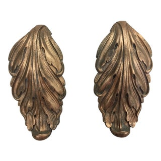 Vintage Brass Acanthus Leaf Door Pulls - A Pair