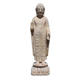 Chinese Distressed Brown White Stone Standing Abhaya Mudra Buddha Statue