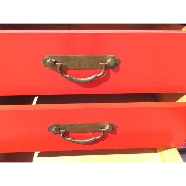 American of Martinsville Vintage Asian Red Dresser - Image 7 of 11