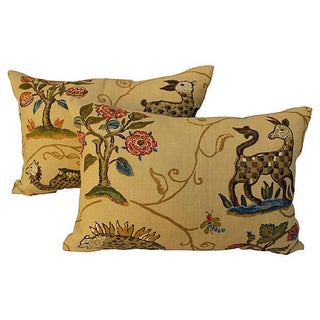 Schumacher La Menagerie Woven Pillows - Pair