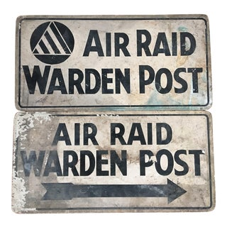 Vintage Civil Defense Air Raid Warden Post Signs - Pair