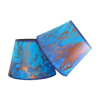 Blue & Copper Marble Lampshades -  Pair