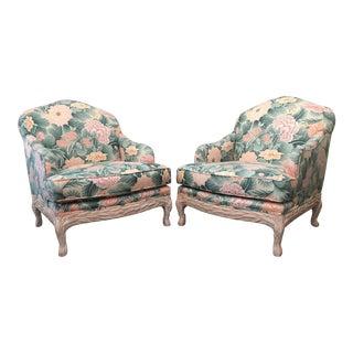 Faux Bois Floral Bergere Chairs - A Pair