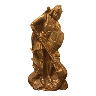 Brass Knight Fighting Dragon Statue