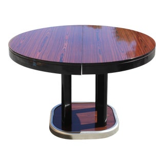 French Art Deco Macassar Ebony Round Dining Table With Built In Extension Leaf