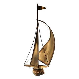 Mid-Century Brass Ship Sculpture