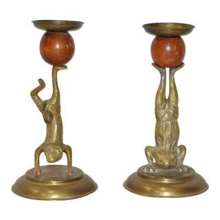 Arthur Court Vintage Brass & Teak Candlesticks - A Pair