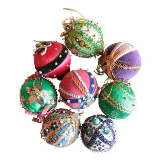 Vintage Beaded Christmas Ornaments - Set of 8