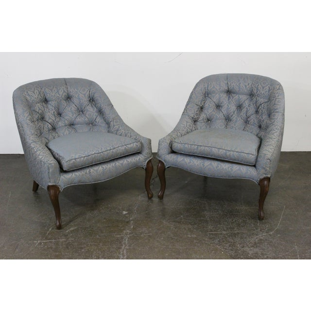 Image of Petite Mid-Centruy Slipper Chairs - A Pair
