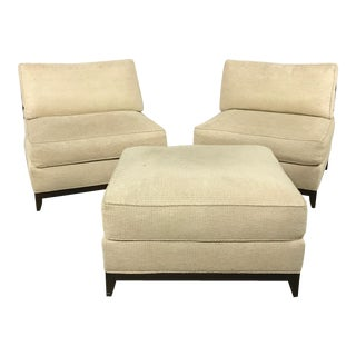 Interior Crafts Armless Club Chairs & Ottoman - Set of 3