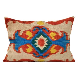 Orange & Blue Silk Velvet Pillow