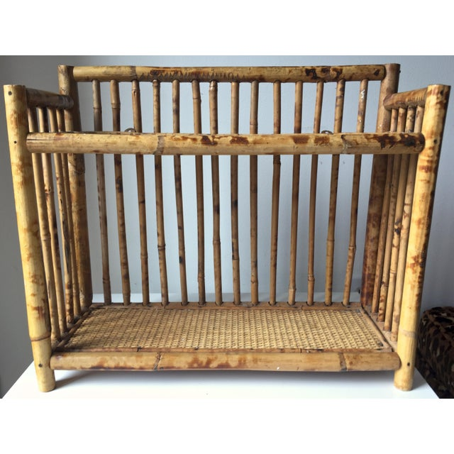 Vintage Scorched Bamboo Rattan Shelf - Image 2 of 6