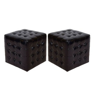 Black Vinyl Cubes Tables Ottomans - A Pair