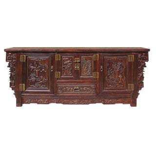 Chinese Distressed Brown Floral Motif Sideboard Console