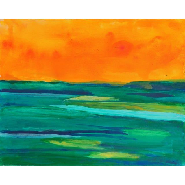 Coral & Teal Abstract Sunset by Glenn Lyons - Image 1 of 6