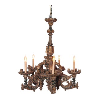Italian Carved Wood Chandelier