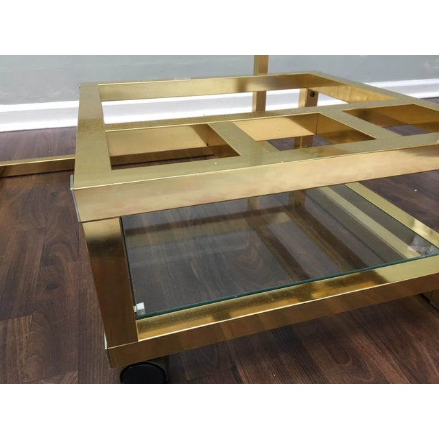 Cubist Brass Swivel Coffee Table with Wine Rack After Milo Baughman - Image 7 of 7