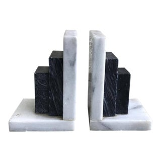 Vintage Carrara Marble Bookends - A Pair