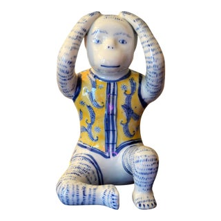Vintage Blue & Yellow Porcelain Monkey