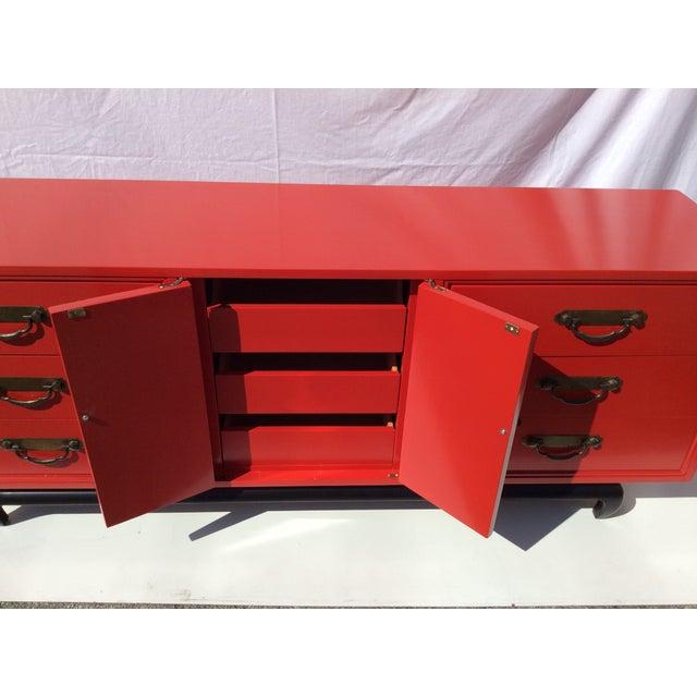 American of Martinsville Vintage Asian Red Dresser - Image 5 of 11