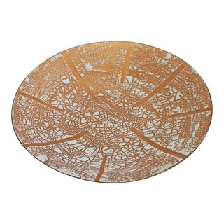 Gold and White Enamel On Copper Dish