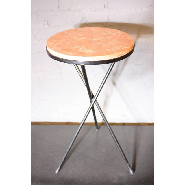 Image of French Marble-Top Table with Iron Base