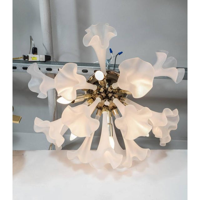 Handblown Flush Mount Murano Chandelier in Brass with Frosted Glass Flowers - Image 6 of 9