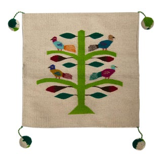 Mexican Folk Wool Pillow Cover With Birds and Tree Design Active
