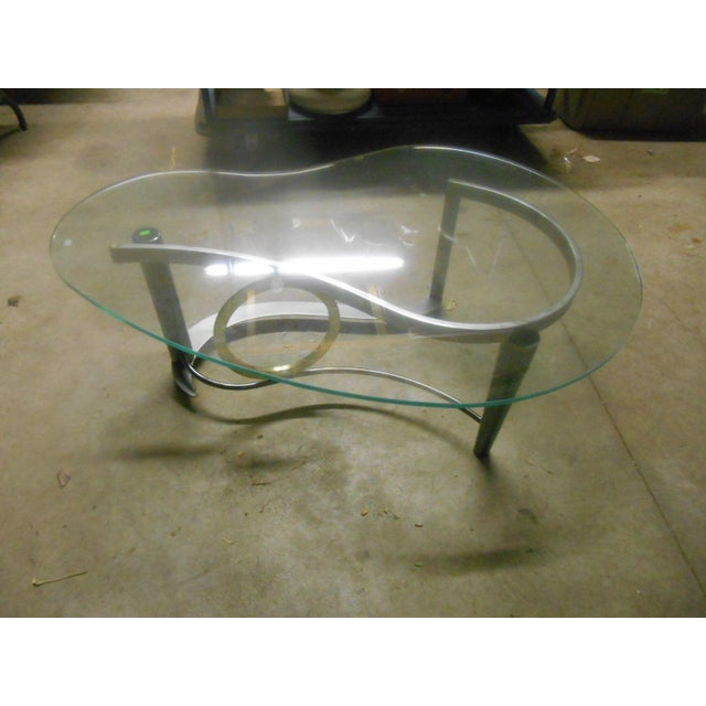 Vintage Kidney Glass Top Coffee Table