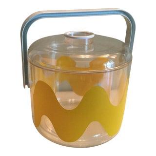 Yellow Wave Plastic Ice Bucket